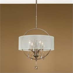 Uttermost Alenya 4 Light Fabric Drum Pendant in Burnished Gold