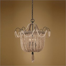 Uttermost Civenna 3 Light Natural Wood Beads Draped Pendant in Black