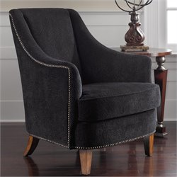 Uttermost Nala Midnight Black Lounge Armchair in Sunwashed Pecan