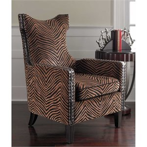 Uttermost Kimoni Golden Fabric Wingback Arm Chair in Ebony