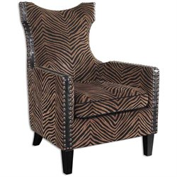 Uttermost Kimoni Golden Brown and Black Wing Back Armchair in Ebony
