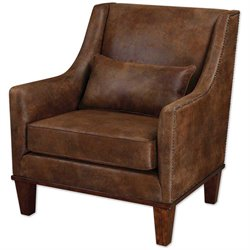 Uttermost Clay Tan Velvety Soft Fabric Armchair in Weathered Hickory