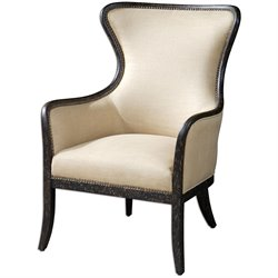 Uttermost Zander Tan Wing Back Armchair in Weathered Black Finish
