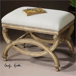 Uttermost Karline Natural Linen Small Bench in Antiqued Almond Finish