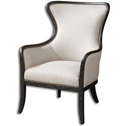 Uttermost Sandy Sandy White Fabric Wingback Arm Chair in Black