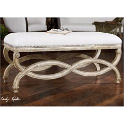 Uttermost Karline Natural Linen Bench in Antiqued Almond Finish