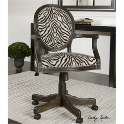 Uttermost Yalena Swivel Desk Chair in Black and Dark Espresso