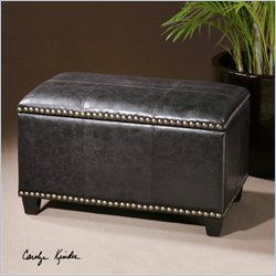Uttermost Beckham Small Black Polyurethane Storage Bench in Dark Ebony
