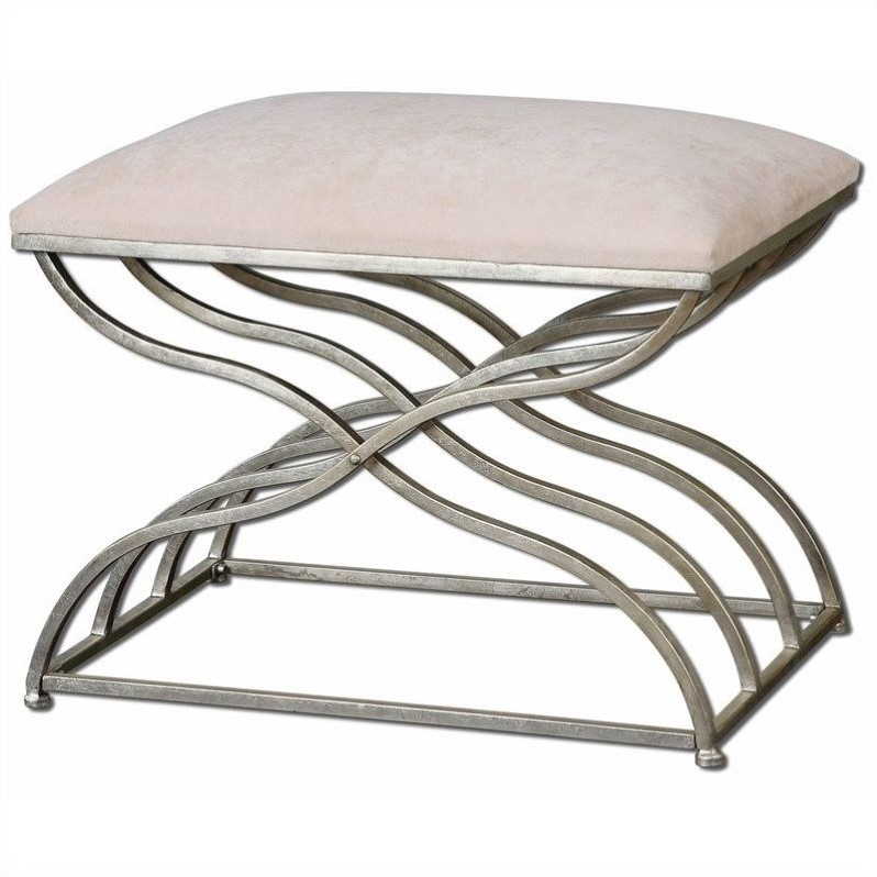 Uttermost Shea Satin Nickel Small Bench in Plush Ivory
