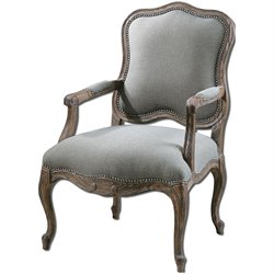 Uttermost Willa Steel Gray and Tan Armchair in Ash Gray Wash