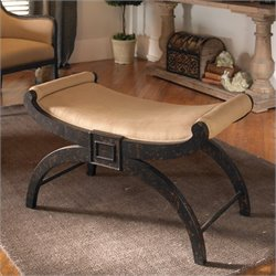 Uttermost Light Tan Linen Corona Bench in Weathered Black