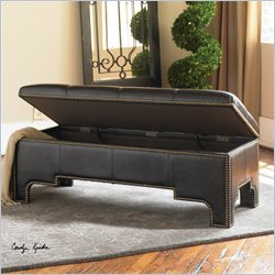 Uttermost Onika Faux Leather Storage Bench in Black