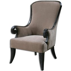 Uttermost Kandy Taupe Velvet Armchair in Black Stained
