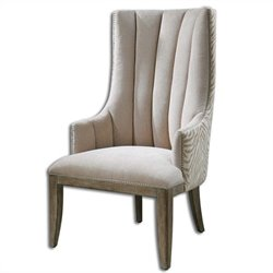Uttermost Zyla Chenille Fabric Wingback Arm Chair in Tan