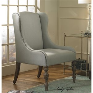 Uttermost Filon Misty Seaglass Hue Wing Chair in Gray