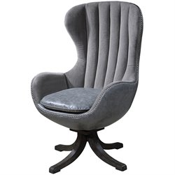 Uttermost Linford Dove Gray Velvet Swivel Chair in Espresso