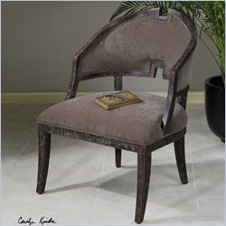 Uttermost Onora Camel Brown Velvet Armless Chair in Nutmeg
