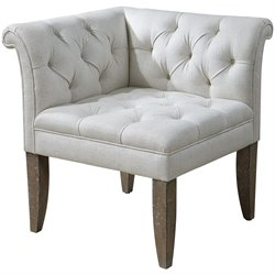 Uttermost Tahtesa Tufting Corner Chair in Bright Ecru