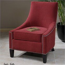 Uttermost Kina Upholstered Swayback Chair in Red