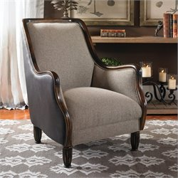 Uttermost Conlin Plush Hazelnut Upholstered Armchair in Rubbed Black