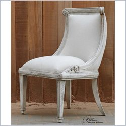 Uttermost Anesio Ivory Upholstered Armless Chair in Antique Bone
