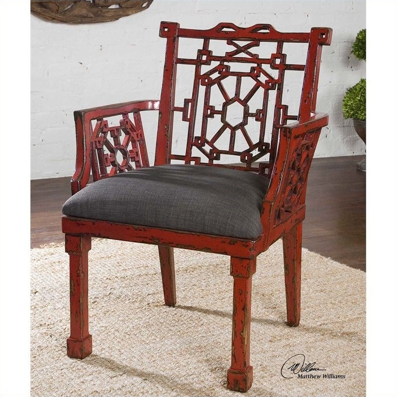 Camdon Steel Gray Upholstered Armchair in Antique Red