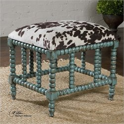 Uttermost Chahna Upholstered Small Bench in Aqua Blue
