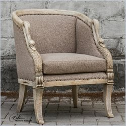 Uttermost Swaun Hand Carved Vienna Fabric Arm Chair in Antique Bone