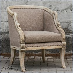 Uttermost Swaun Hand Carved Vienna Chocolate Armchair in Antique Bone