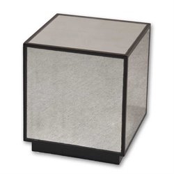 Uttermost Matty Mirrored Cube Table in Aged Black