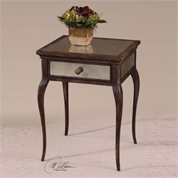 Uttermost St. Owen Sunwashed Natural Wood Mirrored End Table