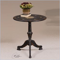 Uttermost Gorham Round Accent Table in in Ivory Over Slate Black