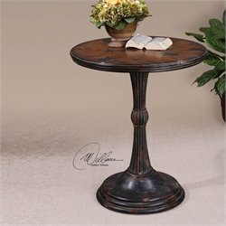 Uttermost Breton Round Accent Table in Aged Oak And Mahogany