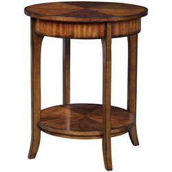 Uttermost Carmel Round Lamp Table in Warm Old Barn Finish