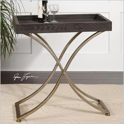 Uttermost Valli Tray Champagne Steel Stand Accent Table in Ebony