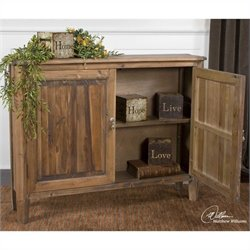 Uttermost Altair Reclaimed Fir Wood Console Cabinet in Stony Gray Wash