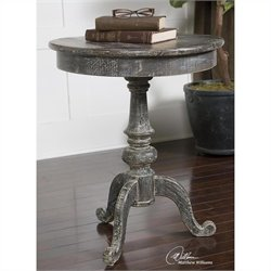 Uttermost Cadey Reclaimed Fir Wood Side Table in Dusty Charcoal