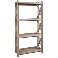 Uttermost Stratford Reclaimed Fir Wood Etagere in Light Gray Glaze