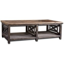Uttermost Spiro Reclaimed Fir Wood Cocktail Table in Brushed Black