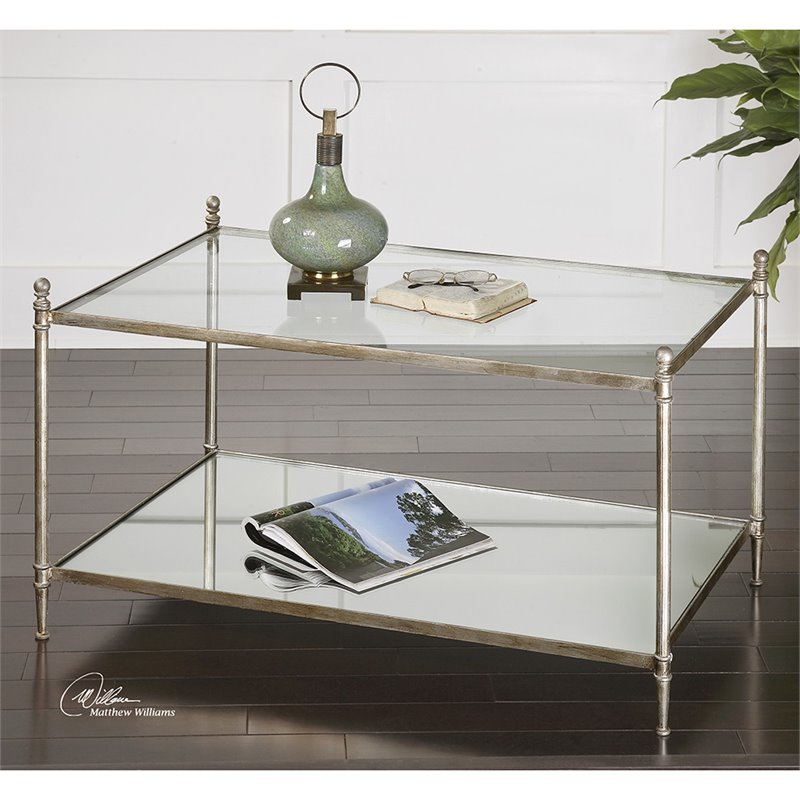 Uttermost Gannon Mirrored Glass Coffee Table in  Antiqued Silver