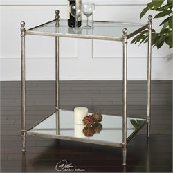 Uttermost Gannon Mirrored Glass End Table in Antiqued Silver