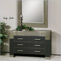 Uttermost Razi Industrial Silver Metal and Black Leather Dresser