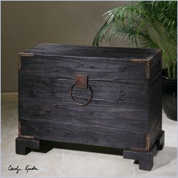 Uttermost Carino Wooden Trunk Table in Black Satin