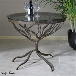 Uttermost Esher Glass Accent Table in Bronze