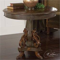 Uttermost Anya Round Pedestal Table in Hand Painted Charcoal Gray