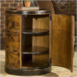 Uttermost Lawton Storage Drum Table in Hand Painted Dark Cinnamon
