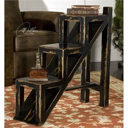 Uttermost Asher Stepped Accent Table in Hand Painted Black