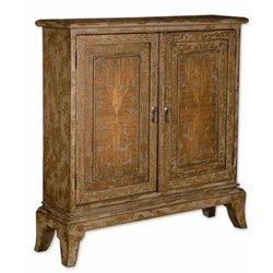 Uttermost Maguire Distressed Console Accent Chest in Warm Oatmeal