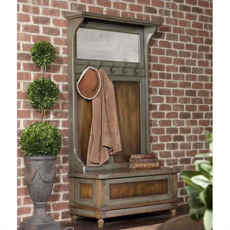 Uttermost Riyo Distressed Hall Tree in Charcoal Gray and Honey Stained