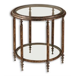 Uttermost Leilani Round Glass Top Accent Table in Antique Gold